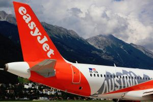 Airbus von easyJet mit OE in Innsbruck