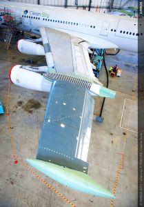 A340-300 hebt mit laminarem Testflügel ab