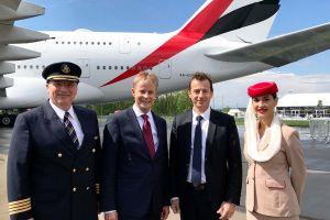Superjumbo A380 von Emirates auf der ILA
