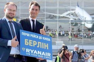 Ryanair feiert in Berlin ersten Flug aus Ukraine