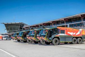 Flotte Panther Löschfahrzeuge am Flughafen Stuttgart
