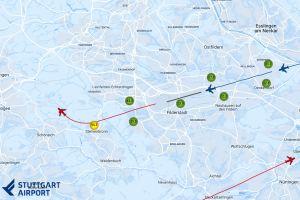 Flughafen Stuttgart zeigt Lärmimmission mit Flugspuren