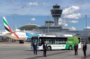 Biogas-Bus mit Elektroantrieb am Flughafen München