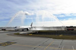 Rückkehr nach Rekordflug: Lufthansa A350 in München