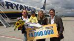 Ryanair befördert 14.000.000. Passagier in Weeze