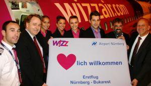 Erstflug der Verbindung Nürnberg – Bukarest von WizzAir