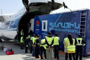 Antonov AN124-100 transportiert Spezialfracht nach Armenien