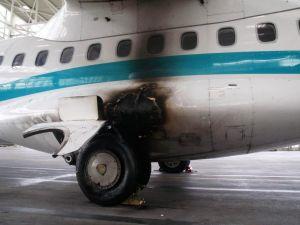 Bremszylinder gerissen: Reifen einer ATR 72 fingen Feuer