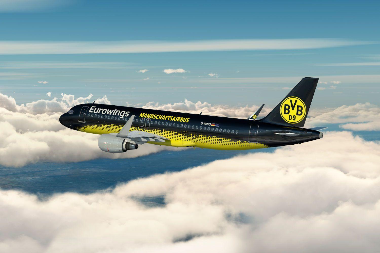 Borussia Dortmund: Mannschaftsairbus A320 in schwarzgelb