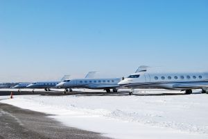 Business-Jets als Langstreckenflugzeuge am Bodensee-Airport