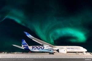 A350-1000 XWB unter Nordlichtern