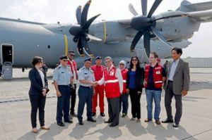 A400M für die RMAF bringt Hilfsgüter nach Malaysia