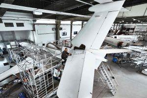 Dassault Falcon 7X zum Heavy-Maintenance-Check bei Ruag